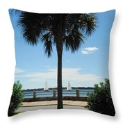 Sails And Palm Throw Pillow