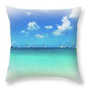 Sails In The Wind Sandy Ground Anguilla Throw Pillow