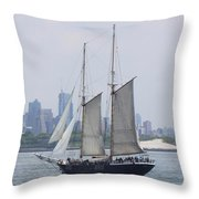 Sails On The Harbor Throw Pillow