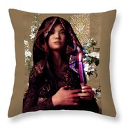 Saint Agnes And The Holy Spirit Throw Pillow