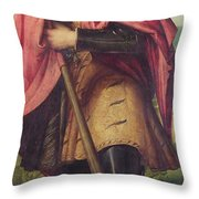 Saint Alexander A Panel From The Altarpiece The Nativity With Saints Throw Pillow