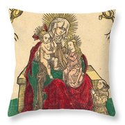 Saint Anne, The Madonna And Child, And A Franciscan Monk Throw Pillow