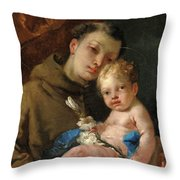 Saint Anthony Of Padua And The Infant Christ Throw Pillow