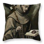 Saint Anthony Of Padua Throw Pillow