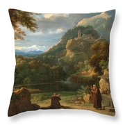 Saint Anthony Of Padua Introducing Two Novices To Friars In A Mountainous Landscape Throw Pillow