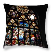 Saint Augustine Stained Glass Throw Pillow