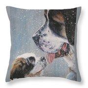 Saint Bernard Dad And Pup Throw Pillow