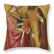 Saint Catherine And A Bishop Saint Possibly Saint Regulus Throw Pillow