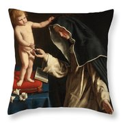Saint Catherine Of Siena Receiving The Crown Of Thorns From The Christ Child Throw Pillow