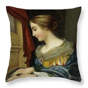 Saint Cecilia Playing The Organ Throw Pillow