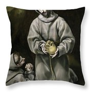 Saint Francis And Brother Leo Meditating On Death Throw Pillow