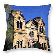 Saint Francis Cathedral Santa Fe Throw Pillow by Kurt Van Wagner