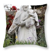 Saint Francis Statue In Carmel Mission Garden Throw Pillow
