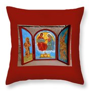 Saint Francis Tryptich Opened Throw Pillow