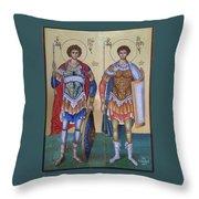 Saint George And Saint Dimitrios Throw Pillow