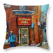Saint Henri Street In Winter Throw Pillow