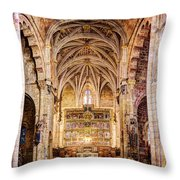 Saint Isidore - Romanesque Temple Altar And Vault - Vintage Version Throw Pillow