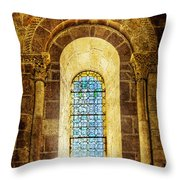 Saint Isidore - Romanesque Window With Stained Glass - Vintage Version Throw Pillow