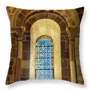 Saint Isidore - Romanesque Window With Stained Glass Throw Pillow
