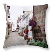 Saint Ives Street Scene, Cornwall Throw Pillow