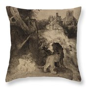 Saint Jerome In An Italian Landscape Throw Pillow