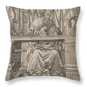 Saint Jerome In His Study Throw Pillow