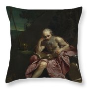 Saint Jerome In The Desert Throw Pillow