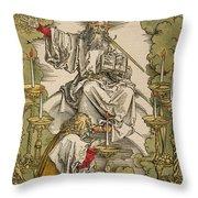Saint John On The Island Of Patmos Receives Inspiration From God To Create The Apocalypse Throw Pillow