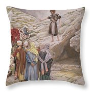 Saint John The Baptist And The Pharisees Throw Pillow by Tissot