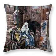 Saint Joseph Seeks Lodging In Bethlehem Throw Pillow