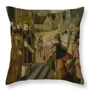 Saint Lawrence Before The Prefect Throw Pillow