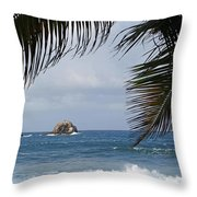 Saint Lucia Palm Tree Small Rock Caribbean Flowing Throw Pillow