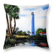 Saint Marks River Light House Throw Pillow