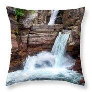 Saint Mary Falls - Glacier National Park Throw Pillow