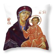 Saint Mary With Baby Jesus Throw Pillow