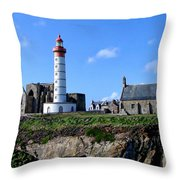 Saint-mathieu Lighthouse And The Ruins Of The Abbey Of Saintlmat Throw Pillow