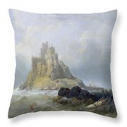 Saint Michael's Mount In Cornwall  Throw Pillow by William Clarkson Stanfield
