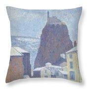 Saint Michel D Aiguilhe Haute Loire Under Snow 1890 Throw Pillow