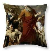 Saint Paul Healing The Cripple At Lystra Throw Pillow