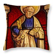 Saint Peter  Stained Glass Throw Pillow