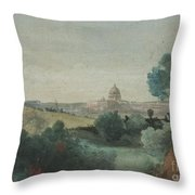 Saint Peter's Seen From The Campagna Throw Pillow