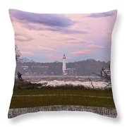 Saint Simon Island Lighthouse Throw Pillow