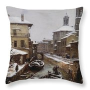 Saint Sophia Canal Covered In Snow Throw Pillow