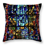 Sainte-mere-eglise Paratrooper Tribute Stained Glass Window Throw Pillow