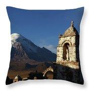 Sajama Volcano And Lagunas Church Belfry Bolivia Throw Pillow