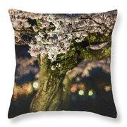 Sakura At Night Throw Pillow
