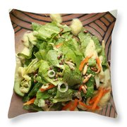 Orange Green Salad For Lunch With Pineapple Dressing Throw Pillow