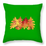 Sale Text On Fall Colors Oak Leaves Throw Pillow