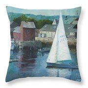 Saling In Rockport Ma Throw Pillow