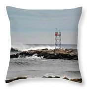 Salisbury Beach Jetty Throw Pillow